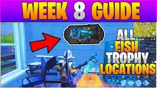 Fortnite ALL Fish Trophy Locations! Dance with a Fish Trophy at Different Named Locations!