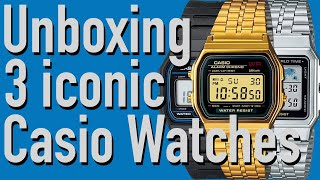 4K Unboxing of 3 iconic retro Casio watches under 100$ / F-91W-1 A500WA-1 A159WGEA-1