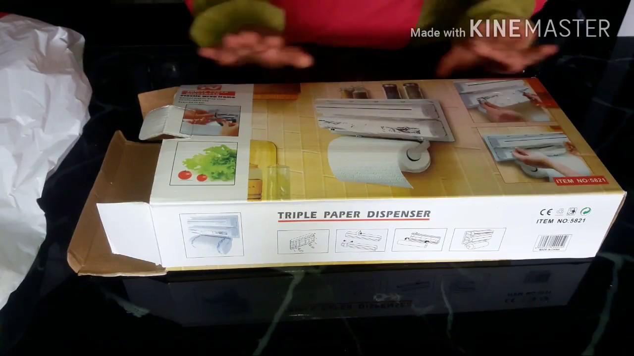 Triple distributeur de papier pour les films alimentaires wrap ALUMINIUM CUISINE ROLL HOLDER