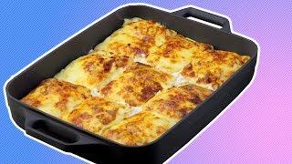 Pfannkuchen Auflauf mit Hähnchen - Rezept zum Nachkochen