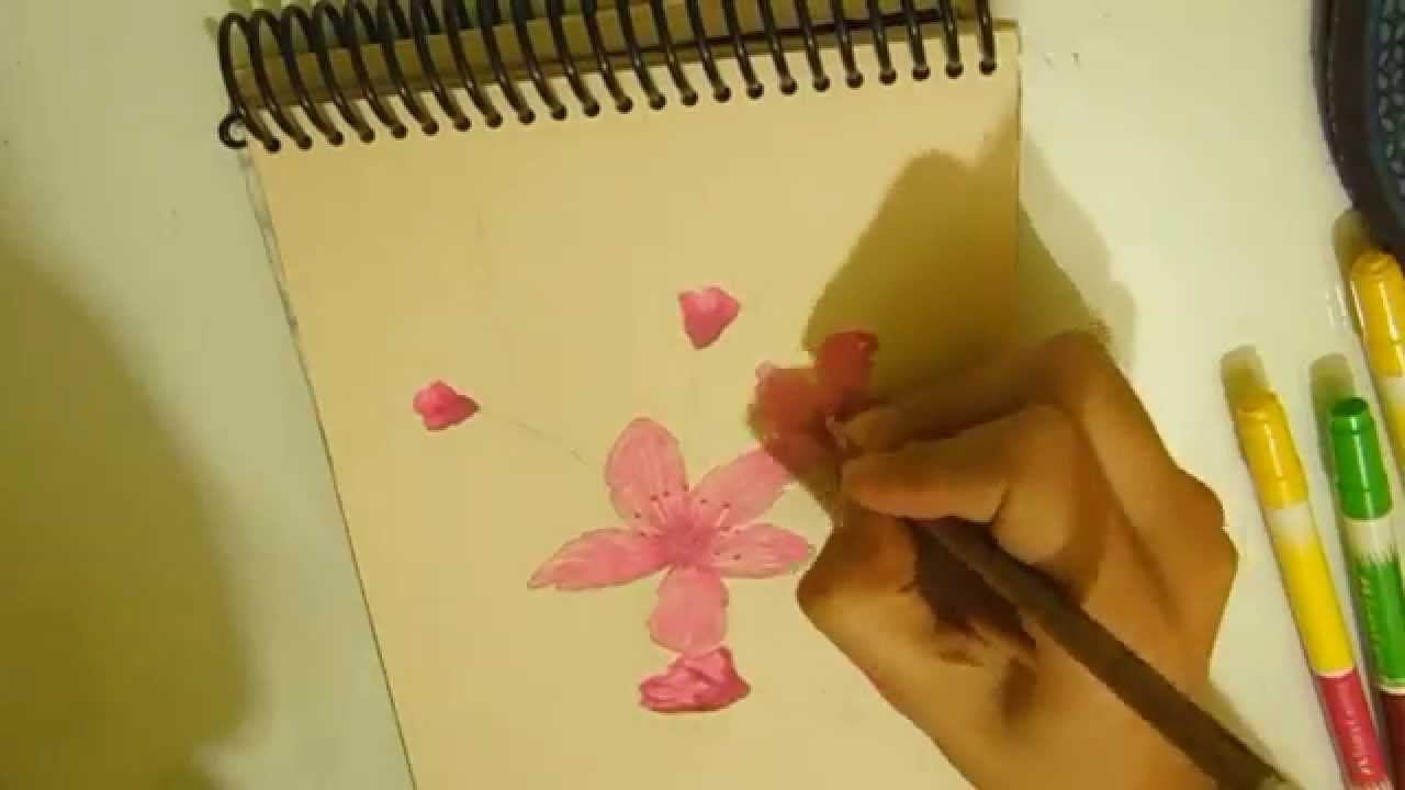 Dibujo Flor De Cerezo Pintado Youtube