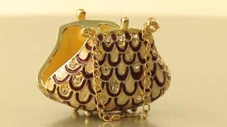 Faberge Style Bag Trinket Box By Keren Kopal Swarovski Crystal Jewelry Box