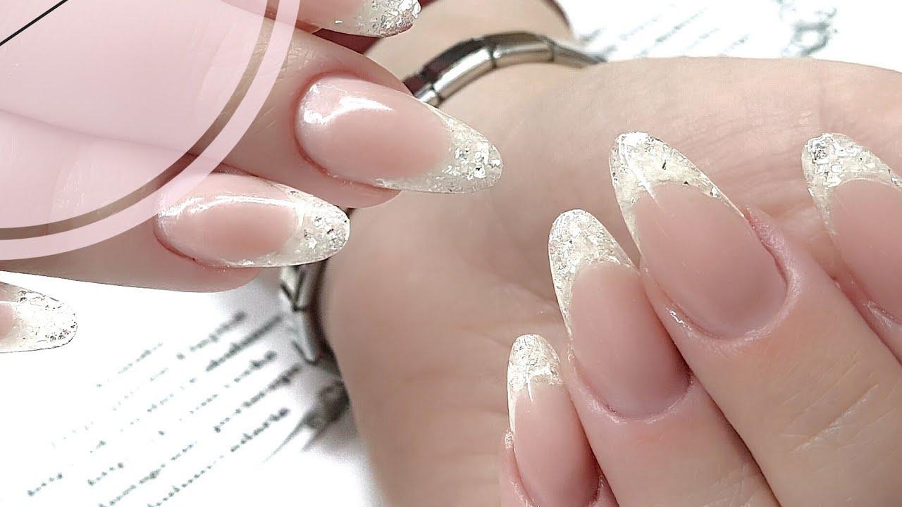 Наращивание ногтей гелем фото френч с блестками