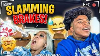 SLAMMING THE BRAKES PRANK ON GIRLFRIEND!