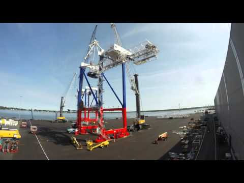 Liebherr - Assembly of four Liebherr STS container cranes in Rostock