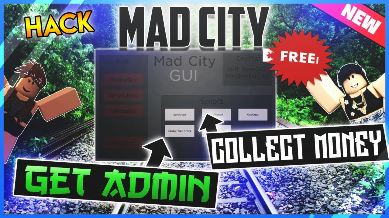 New Roblox Mad City Hack Gui Get Admin All Weapons Auto