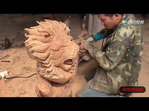 Выпиливание фигуры льва из дерева бензопилой китайские умельцы