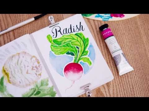Twitch Art Session N°1 - Gouache & Watercolor Timelapse Speed Painting - Radish Illustration