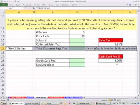 Excel 2010 business math 41 calculating credit card fees youtube excel 2010 business math 41 calculating credit card fees colourmoves