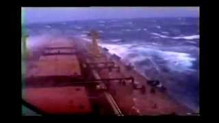 Ship almost sinks in bad stormy weather, biggest waves and hurricane wind