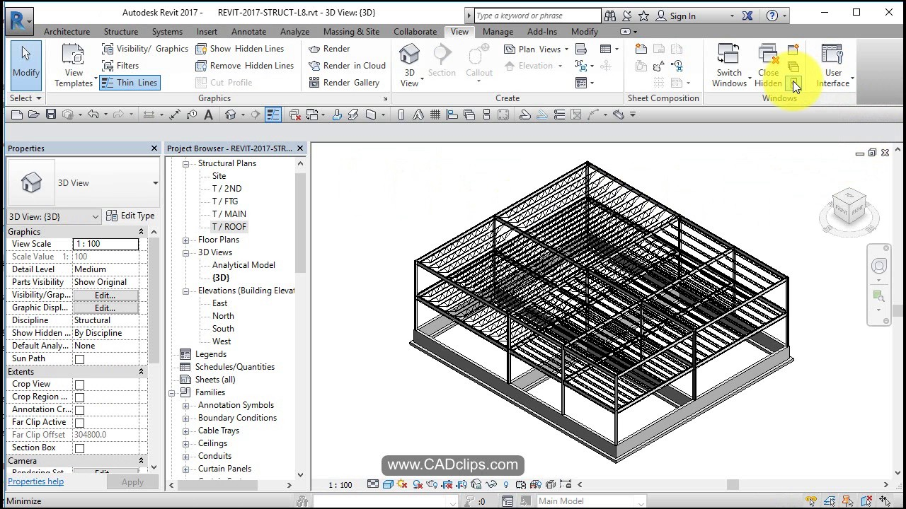 REVIT STRUCTURAL PROJECT 08 ROOF 0PEN WEB STEEL JOIST FRAMING AND MODIFY  GRID