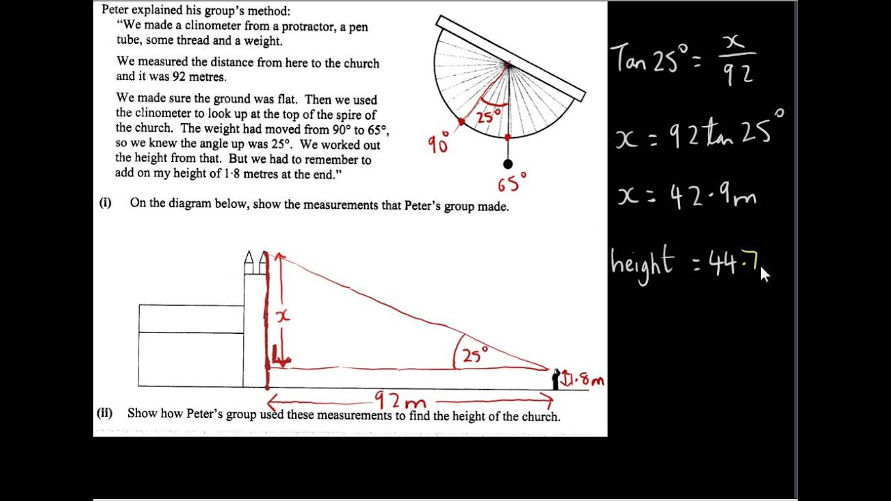 Clinometer Example - Project Maths OL by KeysToMaths1