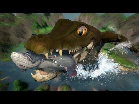 PLAYING AS THE HUGE, SECRET CROCODILE!!! - Fish Feed Grow | HD thumbnail