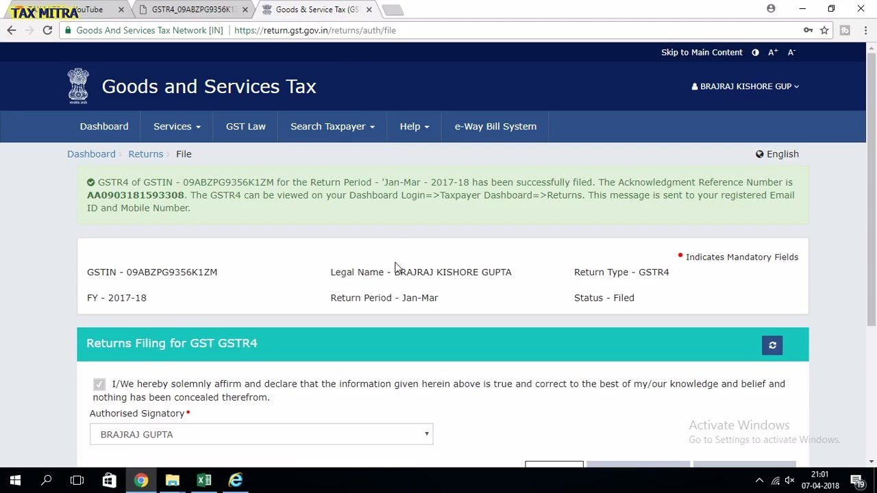 GSTR-4 Return Filing JAN TO MAR 2018 (LIVE DEMO)