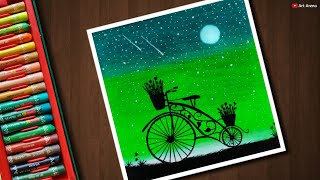 Bicycle scenery drawing with Oil Pastels for beginners - step by step