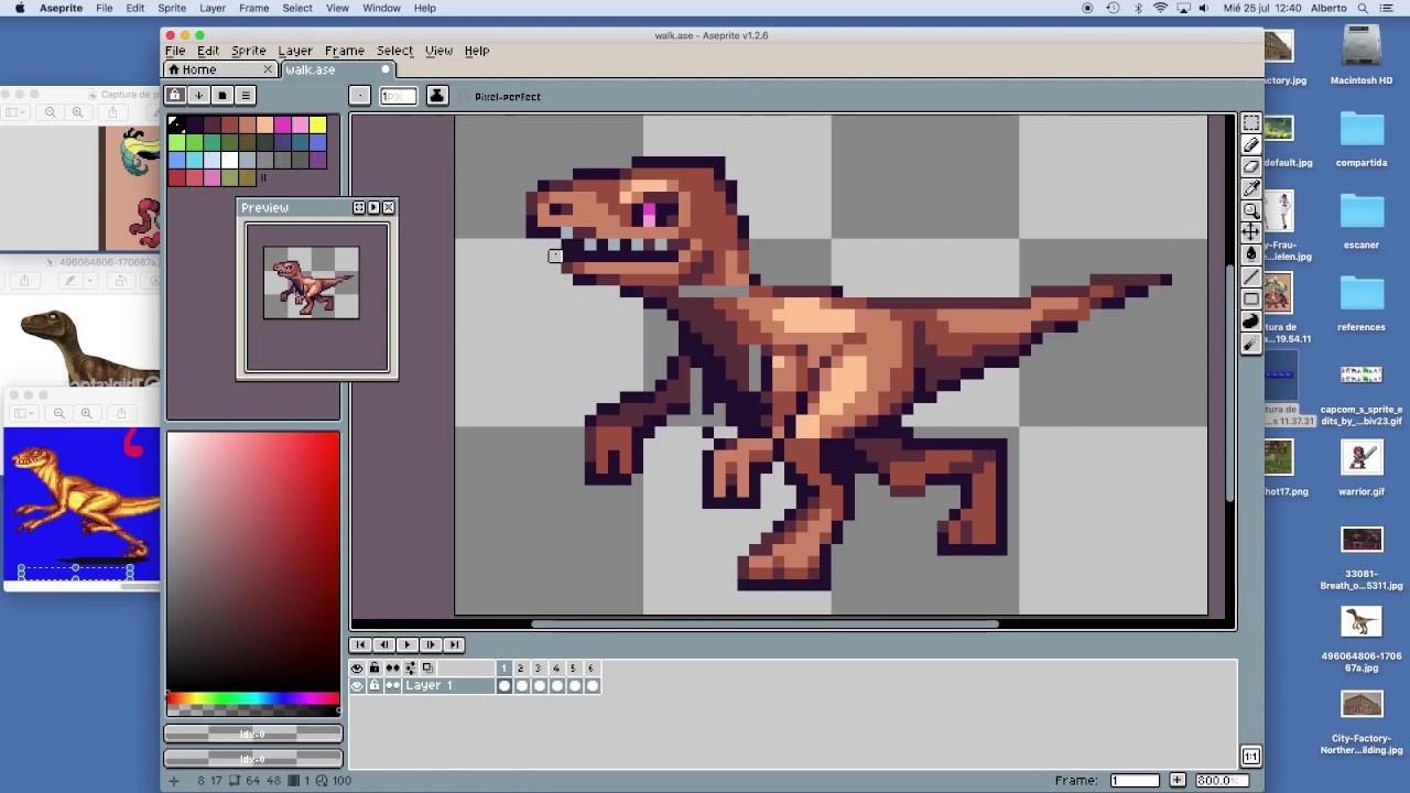 89eb5037f2 PIXEL ART TIMELAPSE - Dinosaur walk cycle - YouTube