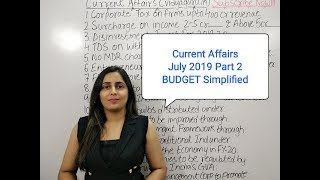 July 2019 GK Current Affairs in Hindi - II Union Budget for IBPS amp SSC Exams
