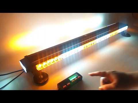 """47/"""" 48 LED Flash Traffic Advisor Emergency Warning Strobe Light Bar Amber/&White"""