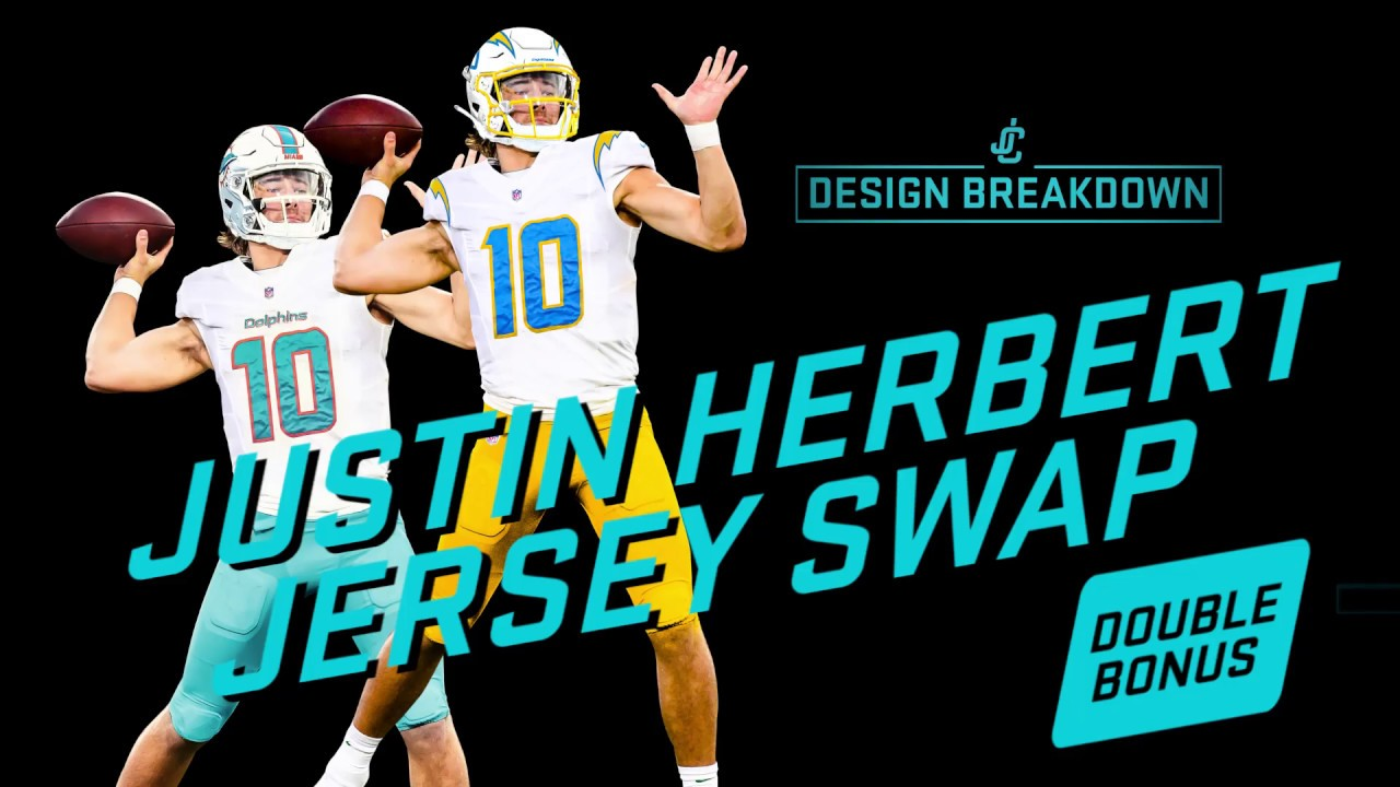 Justin Herbert Chargers Dolphins Jersey Swap Design Breakdown Youtube