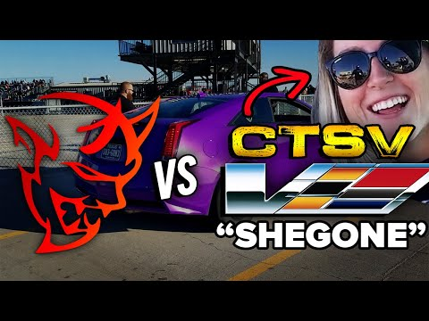 "REVENGE RACE! Dodge Demon vs CTS V ""SHE GONE"" (both modded) DRAG RACE 