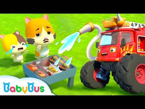 Monster Fire Truck | Baby Kitten's BBQ Party | Super Rescue Team | Kids Song | BabyBus