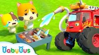Download Monster Fire Truck | Baby Kitten's BBQ Party | Super Rescue Team | Kids Song | BabyBus Mp3 and Videos