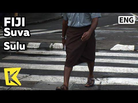 【K】Fiji Travel-Suva[피지 여행-수바]빅토리아 거리, 남자들의 치마 술루/Sulu/Victoria Street/Skirt/Costume