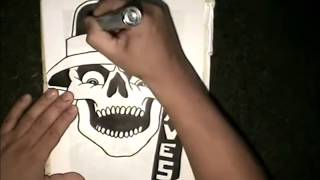 How to draw the Avenues Gang Skull  -  cholo Skull