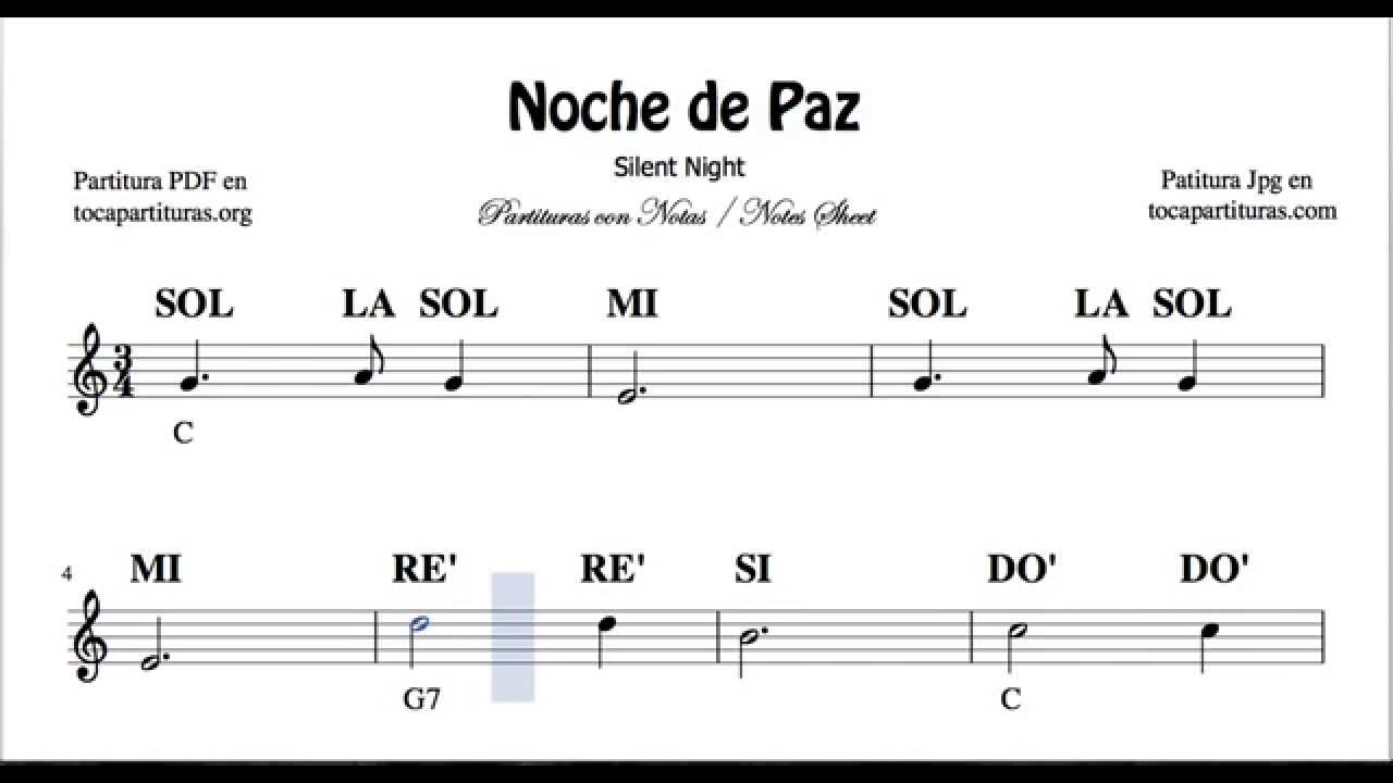 Noche De Paz Partitura Con Notas Para Flauta Violín Oboe Tutorial Con Notas Y Acordes En Do Mayor Youtube