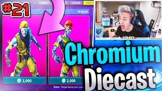 "NINJA *REACTS* TO NEW ""DIECAST"" & ""CHROMIUM* SKIN IN FORTNITE! Fortnite Funny Moments & Fails #21"