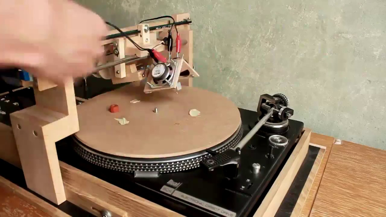 cutting music records with a self-build record lathe - YouTube