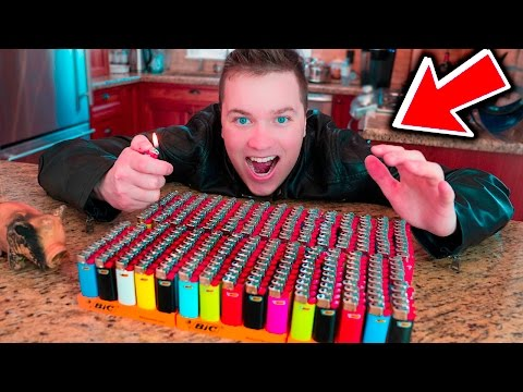 LIGHTERS Vs FIRE EXPERIMENT!!! NEW 2,000 LIGHTERS (MASSIVE EXPLOSION)