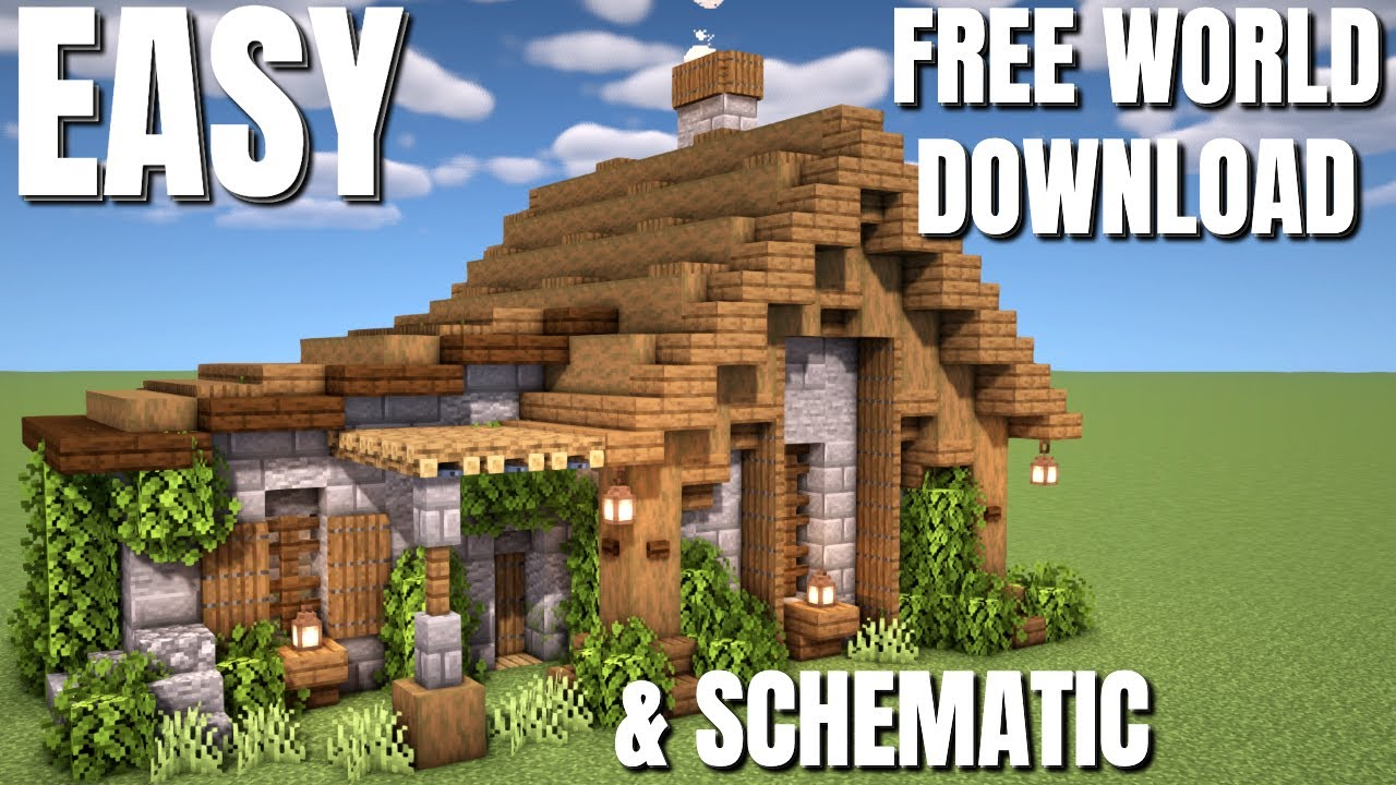 Is this the EASIEST Minecraft Survival House EVER? Block by block tutorial plus Download & Schematic