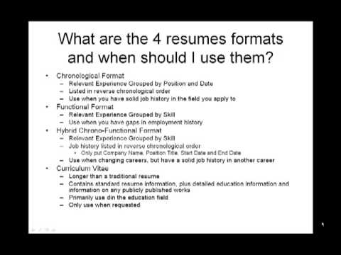 How to Make a Resume - What are the 4 resumes formats and when