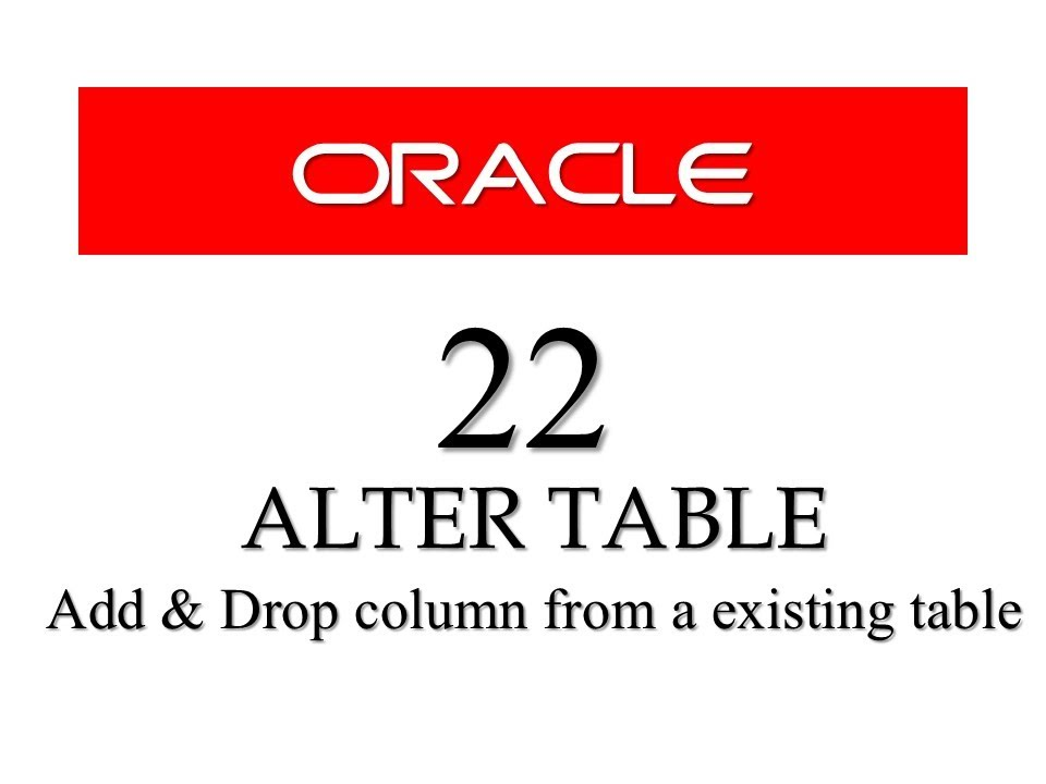 Sql tutorial 22 how to add delete column from an existing table using alter table youtube - How to add a column in a table ...