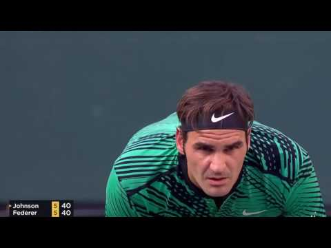 federer vs johnson indian wells 2017 highlights HD