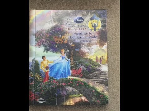 the-disney-dream-collection---thomas-kinkade-2018-desk-calendar-flip-through