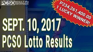 PCSO Lotto Results Today September 10, 2017 (6/58, 6/49, Swertres & EZ2)