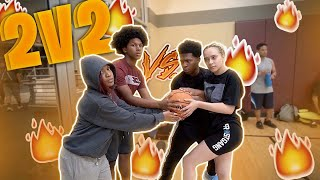 2V2 BASKETBALL WITH MY GIRLFRIEND VS MY LIL BROTHER AND SISTER! *Hilarious*