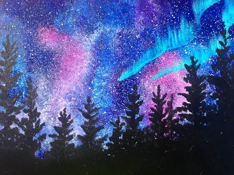Beginners learn to paint Acrylic | Aurora Borealis Landscape