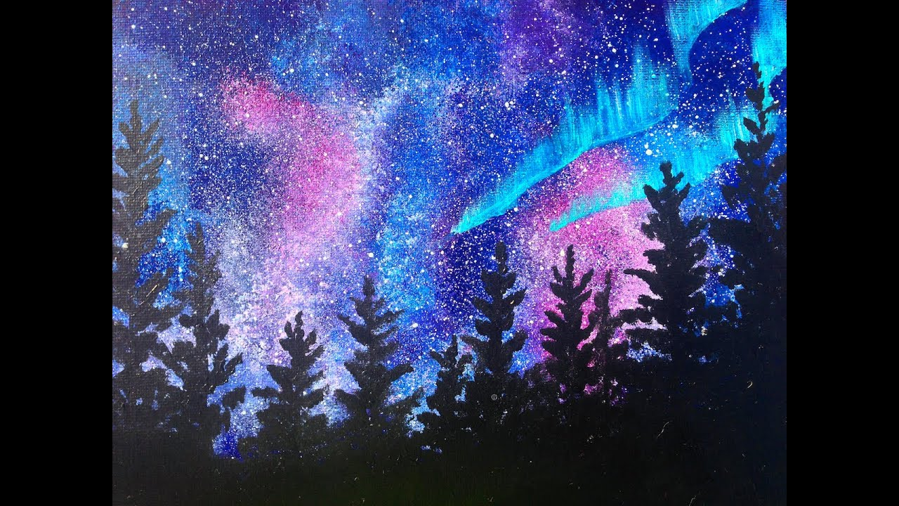 beginners learn to paint acrylic | aurora borealis landscape | the