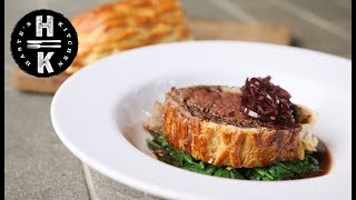 Easy beef wellington with red wine sauce #AD