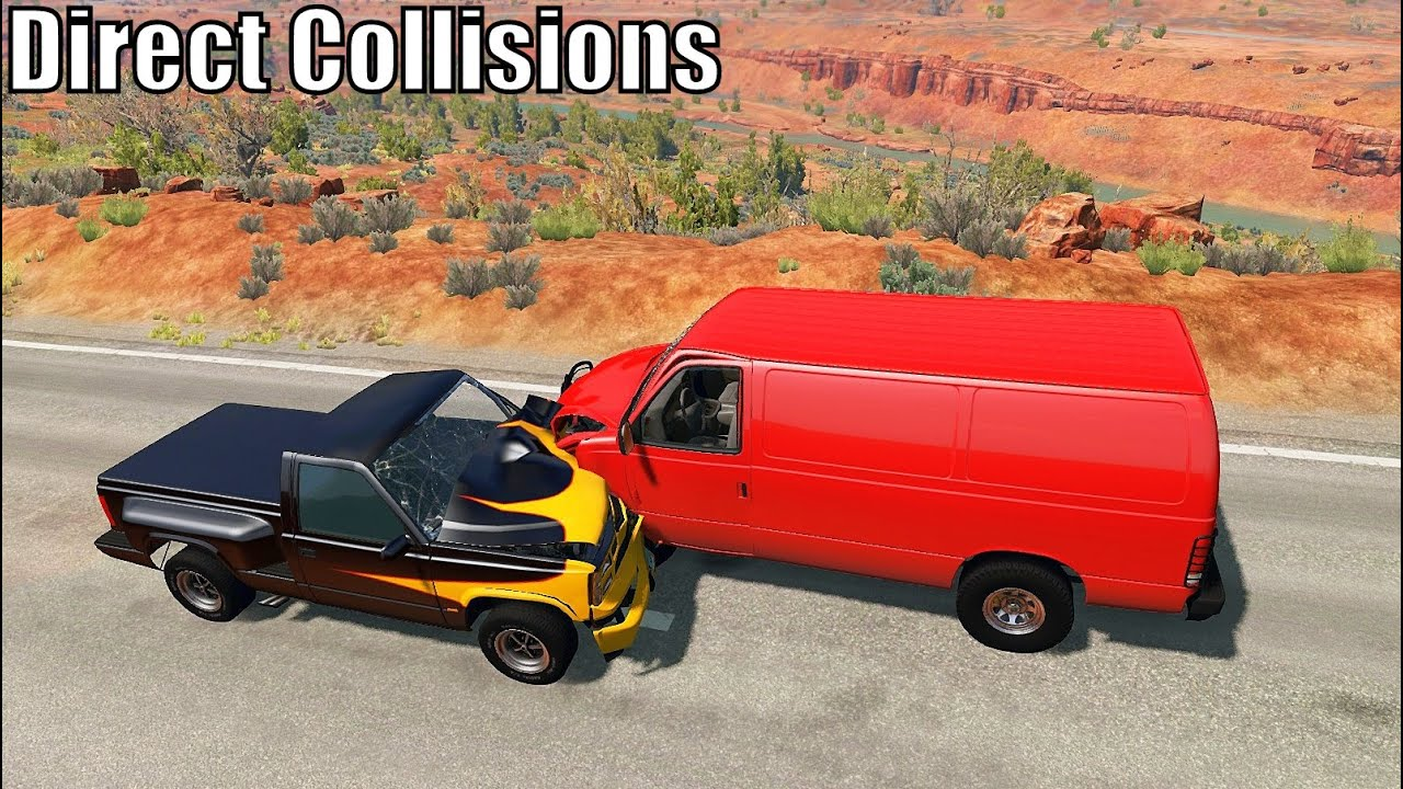 Direct Collisions (Crash Test) #2 - BeamNG.drive High Speed Road Crashes