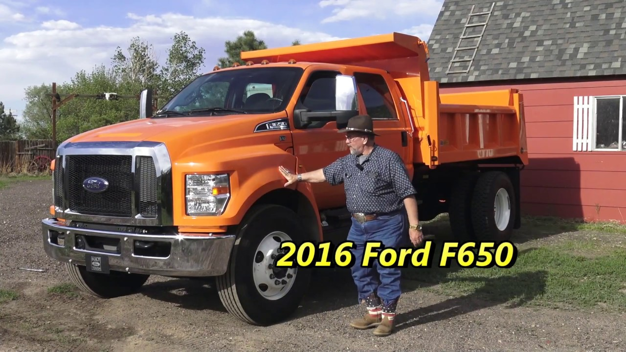First Drive 2016 Ford F650 crew cab dump bed - YouTube