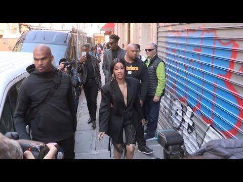 Cardi B arrives by walk at Mugler Fashion Show in Paris