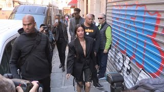 Cardi B arrives by walk at Mugler Fashion Show in Paris