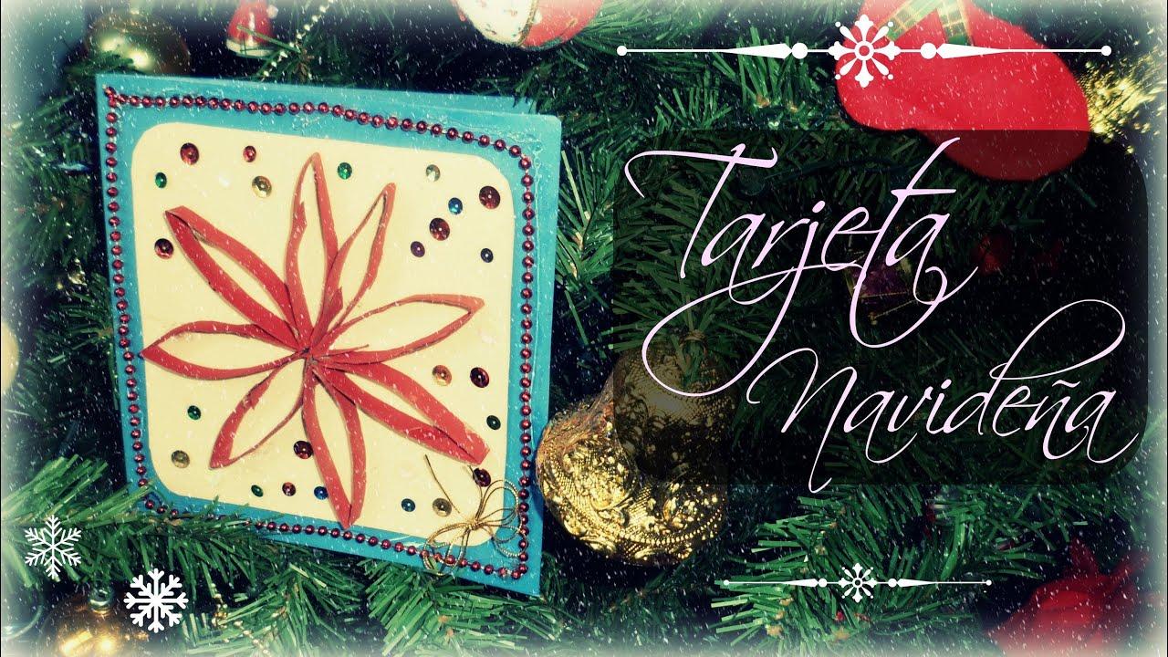 Diy tarjeta navide a nochebuena reciclado - Hacer una tarjeta navidena ...