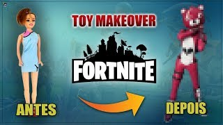 Turn a Barbie into the Pink Bear Skin (TOY MAKEOVER)-DIY FORTNITE
