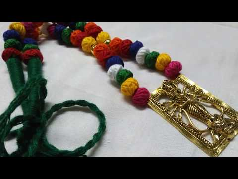 How to make multicolour cotton beads necklace with ma durga dokra Pendant