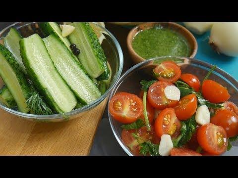 Малосольные огурцы и помидоры, очень быстрый рецепт. Малосольные огурцы и помидоры в пакете.